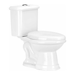 "The Renovators Supply - Toilets White Laurier Dual Flush Toilet Elongated | 13727 - Dual Flush Toilets Laurier Toilet TOP Flush: By using Dual Flush technology the EPA estimates homeowners save up to 25,000 gal. of water a year. How? Use 0.8 LOW flush for liquids and 1.6 HIGH flush for solid waste. Control your water usage to SAVE money and conserve water. Our G-Force high efficiency flush system technology lets you flush only ONCE! Eliminate the need to double flush. Ergonomic easy height and elongated bowl makes using it safer by putting less strain on your body. Includes SAFE and QUIET ""No-Slam"" plastic toilet seat and EASY top flush plastic faux chrome button. Measures 28 1/2 inch H x 28 inch projection"
