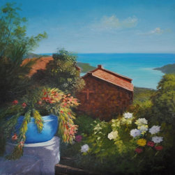 "Original Tropical Caribbean Landscape Of St. Thomas, Usvi (Chapel And Flowers) - Chapel and Flowers is an original 24"" x24"" tropical Caribbean landscape painting created by painting oil over acrylic. It is framed in a 1"" - wide gold and black floater frame and ready to hang."