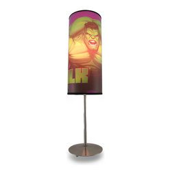 Zeckos - Marvel Comics Hulk 18 Inch Cylinder Lamp - This cool chrome plated cylinder lamp has a retro, 1960's style. Officially licensed by Marvel Comics, the 12 inch long, 5 inch diameter fabric shade has an Incredible Hulk graphic that really shines brightly when the lamp is turned on. The lamp measures 18 inches tall, 5 inches in diameter, with a cool chrome plated base It gives a great look to dorm rooms, rec rooms or bedrooms. It uses standard light bulbs, and comes with a 5 foot long cord with a thumb wheel on/off switch.