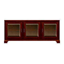 Howard Miller Custom - Lucy Cabinet w 3 Doors in Newport Cherry - This cabinet is finished in Newport Cherry on select Hardwoods and Veneers, with Antique Bronze hardware. 3 doors with beveled Glass. 3 adjustable interior shelves. Flat profile top and cove profile base. Hardware: bar pulls on doors. Features soft-close doors and metal shelf clips. 71 1/4 in. W x 22 1/4 in. D x 29 3/4 in. H
