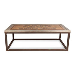 "Kathy Kuo Home - Charlie Industrial Loft Wood Iron Historical Coffee Table - ""You are leaving the American Sector"" were the words written on the sign seen at Checkpoint Charlie crossing the border at the Berlin Wall. Bring some historical beauty to your home with this nostalgic wood and iron coffee table. Solid, antiqued iron legs with exposed bolts add a rustic, industrial finish to a uniquely wonderful piece."
