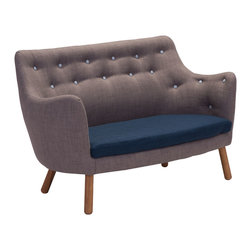 Zuo - Liege Settee Sofa - The Liege Settee Sofa is a work of art. With a sleek sculptural shape and relaxed angles, this modern sofa pays homage to sensible mid-century design. The Liege Settee Sofa is upholstered in a soft charcoal polyblend with a cobalt seat cushion, and features tufted buttons in a coordinating blue. Pair with the occasional chair in the Liege collection, which features the inverse color palette for a unique but collected seating arrangement. The Liege Settee Sofa is sure to be an unforgettable addition to your modern lounge area.
