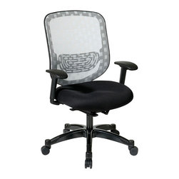 Office Star - Space Seating 829 Series White Dura Flex with Flow Through Technology Back Chair - White duraflex with flow through technology back with black mesh seat. Auto adjusting control. Adjustable arms and adjustable lumbar support. Pneumatic seat height adjustment. 360 degree swivel. Tilt lock. Gunmetal finish base. Rated for up to 300 lbs.