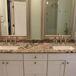 Bathrooms - Lennon granite vanity, natural stone from Levantina, install by Olympia Stone ...