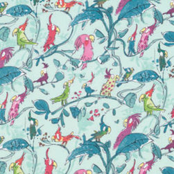 Zagazoo Cockatoos Fabric - The bright aqua print of both the fabric and wallpaper make me smile — and they'd be the perfect backdrop to a kids room or office!