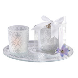 "Handcrafted Model Ships - Set of 4 - Frosted Glass Tea Light Holder 2.5"" - Long a distinctive symbol of royalty, the Set of 4 - Frosted Glass Tea Light Holder 2.5"" -creates warmth and bright memories for your guests. Magnificent detail is the hallmark of this exquisite wedding favor, from the intricate pattern on the tea light holder to the delicate, silver-finish fleur-de-lis charm included in the gift presentation."