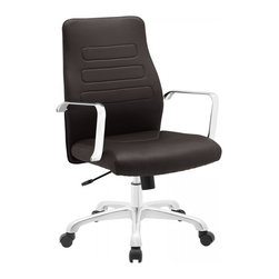 Modway Imports - Modway EEI-1531-BRN Depict Mid Back Aluminum Office Chair In Brown - Modway EEI-1531-BRN Depict Mid Back Aluminum Office Chair In Brown