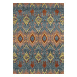 """Loloi Rugs - Loloi Rugs Leyda Collection - Blue, 7'-10"""" x 11' - Transform your home into a designer haven with the chic Leyda Collection of Ikat patterns. Whether you are looking for an interior that is soft and subtle or bold and dramatic, the Leyda Collection has an option to fit your personal style. Hand-tufted in India of 100-percent wool, these striking rugs come in up-to-date blue, ivory/multi, black/light gold, red/multi, midnight, cream/gray, ivory, light gold and gray/denim. Leyda is the makeover you have been dreaming about."""