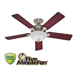 "Hunter - Hunter 53085 Five Minute 52"" 5 Blade Ceiling Fan - Blades and Light Kit Included - Features:"