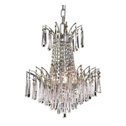 Elegant - Victoria Chrome Royal Cut Dining Room Chandelier - The Victoria Collection provides a display of brilliant color.  This vibrant series features multi-layers of crystals throughout its body, adding decorative design to a room.
