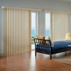 Bali - Bali Solar Fabric Vertical Blind: Monet & Bellaire - Bali® Solar Fabric Vertical blinds provides solar protection for large windows and patio doors.
