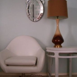 """vintage finds - I adore this fantastic Overman egg chair!  It has a graceful fluid curved form that I'm diggin' right now. Mix it with a fussy Venetian mirror, a mid century lamp, and side table, and you have instant """"ultra-hip"""", vintage decor that is so sought after these days. It has been re-worked with white vinyl upholstery. It has a loose seat cushion and stands on a four-point aluminum base and is in good condition. I think it's simply gorgeous!"""