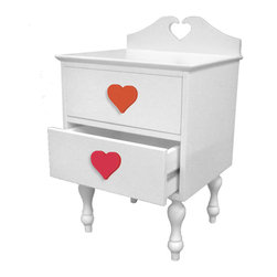 Room Magic - Heart Nightstand - Our Heart nightstand is adorable and well made. French colonial style made with solid wood with a white finish, with turned legs and a heart shape back piece. Includes set of 2 knobs. Quality drawer glides and finished back.. 18�W, 16�D, 28�H .