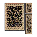 Tayse Rugs - Elegance Black and Beige Area Rug Sets Three Piece Set - - Scrollwork interior with floral border makes this rug a perfect companion to traditional or transitional d�cor. In classic colors that are always in fashion. Black with ivory and gold. Made of soft polypropylene that is easy to clean. Vacuum and spot clean.  - Square Footage: 47  - Pattern: Oriental  - Pile Height: 0.39-Inch  -3 piece rug collection: 5? x 7?, 20 x 60, and 20 x 32 Tayse Rugs - 5403  Black  3 Pc. Set
