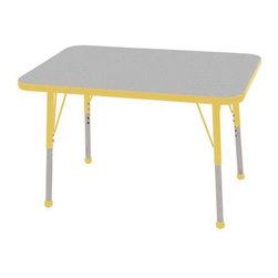 """Ecr4kids - Ecr4Kids Adjustable Activity Table Rectangular 24"""" X 36"""" Elr-14106-Gye-Tb Yellow - Table tops feature stain-resistant and easy to clean laminate on both sides. Adjustable legs available in 3 different size ranges: Standard (19""""-30""""), Toddler (15""""-23""""), Chunky (15""""-24""""). Specify edge banding and leg color. Specify leg type."""