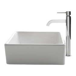 Kraus - Kraus C-KCV-120-1007CH White Square Ceramic Sink and Ramus Faucet - Add a touch of elegance to your bathroom with a ceramic sink combo from Kraus
