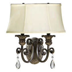 Quorum Lighting - Quorum Lighting Fulton Traditional Wall Sconce X-452-2355 - Spruce up your living room or bedroom with the simple luxury of this traditional wall sconce. The classic bronze finish provides exceptional durability and sleek appeal. The beige fabric shade soothes and provides a friendly glow.