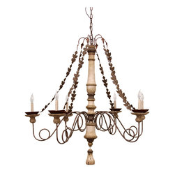 San Isidro Chandelier - Reinterpreting the dark richness of colonial California's baroque Spanish artifacts, this dramatic six-armed electric candelabra is an airier version of those Mission-style objects d'art. Rubbed finishes of ivory and bronze lead the eye through sophisticated looping arms arrayed around the lathe-turned central support. Strands of hammered bronze oak leaves drape from the peak to the ends of the arms. The wiring for this old-world hanging light runs through the chain that suspends it pleasingly from your ceiling.