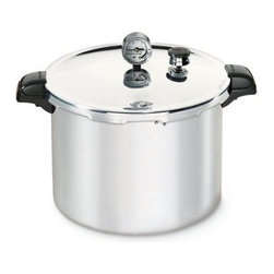 Presto - 16 Qt Aluminum Pressure Canner - 16 Qt Aluminum Pressure Canner preserves fruits  vegetables  and meats fast and easy. The only method recommended safe for low acid foods by the U.S. Department of Agriculture. Capacity: 12 half-pints  10 pints  or 7 quarts. Extra-strong  warp-resistant aluminum for fast  even heating. Easy-to-read dial gauge for accurate pressure control. Doubles as a large capacity pressure cooker.   .