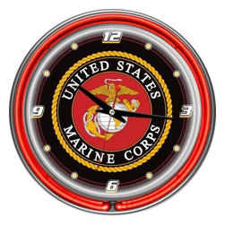 Trademark Global - Trademark Global 14 in. United States Marine Corps Chrome Double Ring Neon Wall - Shop for Wall Decor at The Home Depot. This retro neon clock comes with two neon rings a bright white neon on the inside to light up the exclusive graphic and a vibrant neon ring on the outside. The high gloss chrome molded clock case adds to the brilliant shine of the neon. Make a spectacular addition to your kitchen, den or game room with this amazing clock.
