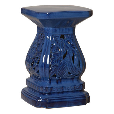 Kathy Kuo Home - Four Seasons Urn Shape Blue Pierced Ceramic Garden Seat Stool - Traditionally used in China as tea tables-these garden stools make a perfect addition to your living space as side tables, or clustered together to be used as a coffee table. Glazes are triple fired for added luster and shine. With a hand made product, glaze variations of up to 10% is to be expected.