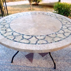Livingroc - Outdoor indoor 49 x 63 round mosaic marble table - INDIA -