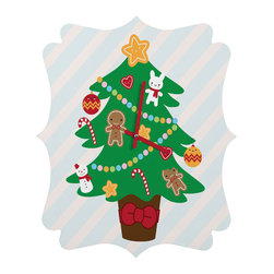 DENY Designs - DENY Designs Marceline Smith Cute Christmas Tree Quatrefoil Clock - Tick tock, tick tock. When time feels like it's standing still, check out DENY's Quatrefoil Clock. Paired with the art of your choice, this Quatrefoil Clock is just what you need to make the day go by just a little bit faster.