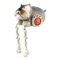 Cute Gray Terrier Dog Dangler Shelf Sitter - Add a unique accent to any shelf or desk in your home or office with this darling dangler. It features a gray terrier with some bones to hide, and measures 3 1/4 inches tall, 6 inches long, and 4 1/4 inches wide. It is made of cold cast resin, hand painted, and finished to look as though it has been carved from wood. This piece is a great gift for dog lovers, and is sure to start a conversation.