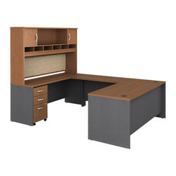 """BBF - Bush Series C 5-Piece U-Shape Computer Desk in Auburn Maple - Bush - Office Sets - WC48536PKG3 - Bush Series C 48"""" Return Bridge in Auburn Maple (included quantity: 1) The Bush Series C Return Bridge offers you a refined approach to expanding your workspace. This fine return bridge merges beautifully with any Bush Series C Desk and other Series C furniture to contribute to a powerful total package.  Features:"""