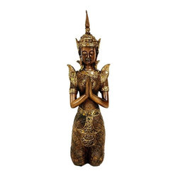 "Oriental Unlimited - 16 in. Tall Thepenom Thai Angel Statue - A stunning, beautifully detailed reproduction of a classic Thai style Thepanom, an Aparasa in Sanskrit, similar to an angel in Judeo-Christian tradition. Our Thepanom statue is an outstanding reproduction of a beautiful carving of the divine being. Dressed in a lovely ornate, elegant golden colored garment. Designed with a beautiful, transcendent, divine face, with Buddhist art style aquiline nose and auspicious eyebrow ridge over eyes closed in deep meditation. Crafted In traditional kneeling position, with hands together in ""Namaste"" mudra. A lovely decorative accent often displayed in pairs, to bless the ambiance of the room. Crafted from a honey colored resin, with a lovely faux wood grain finish. 4 in. W x 7 in. D x 16 in. HSelecting outstanding, unique Asian art and accessories can turn an unadorned dorm room, apartment or house into a warm, special place to relax and renew inner strength and happiness. Our collection of subtle, serene Buddhist art statues and paintings is a wonderful resource for professional interior designers and creative home decorators. A Thepanom is thought provide a delicate, divine energy for living room, bedroom, office or study. In Thailand, a Thepanom is considered a thoughtful gift of respect and friendship in Thai gift giving tradition, now available right here in the USA."