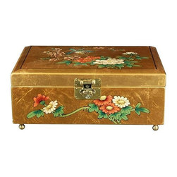 Oriental Unlimted - Clementina Jewelry Box in Gold w Birds & Flow - Perfect for a unique gift or as a special treat for yourself. Handcrafted by artisans in the Guangdong province of mainland China. Employs classic Chinese finishing techniques. Hand finished in a rich and clear lacquer. Compartment lined with fine red felt with a removable felt ring tray. Brass hardware is clear lacquered to resist tarnish. Overlaid with striking 24-carat gold leaf. 12 in. W x 9 in. D x 5 in. H