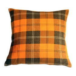 Pillow Decor - Pillow Decor - Contemporary Plaid Orange 20x20 Throw Pillow - Plaid never looked so good. This classic plaid throw pillow will bring vibrancy and life to any room. The bright pumpkin orange will dazzle and is accompanied by dark espresso brown and light cream stripes for beautifully rich contrast. This is a large, open plaid pattern with the dominant color squares measuring 4 inches across. This gives the pillow a more contemporary and less complicated look, making it suitable for a wide range of decor styles, from country to modern.