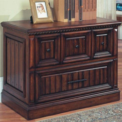 Parker House - Solid Wood Lateral File Cabinet In Walnut Sta - Spanish Revival. Solid Poplar with Maple Veneers, cast metal (Zinc) door grills and metal accents. Dark red walnut stain with hand wiped overglaze, hammered nail head accents. 39 3/4 in. W x 22 in. D x 30 1/4 in. H