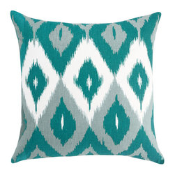 RR - On Sale Diamond Ikat Square Throw Pillow in Azure - Quick Ship Diamond Ikat Square Throw Pillow in Azure