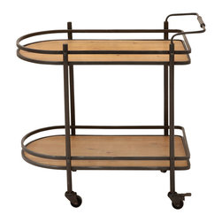 ecWorld - Contemporary Rolling Mobile Tea, Serving and Kitchen Bar Cart - Entertaining is made easier with our rolling cart. Flaunting a versatile and functional design, this Metal Wood Cart is handcrafted with natural wood and it makes a great addition to any home setting. It rolls on casters, so it is easy to move to wherever guests are gathered.