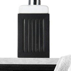 Home Decorators Collection - Phuket Lotion Dispenser - From the Phuket Collection, this lotion dispenser looks good enough to stay on your bathroom counter every day. Dispense your favorite lotion or use it for liquid hand soap. Add this piece to your decorating mix; order now. Wood and ceramic construction. Pebble finish.