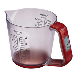 Taylor - Pre-Programmed Volume Conversion Scale in Red - Includes a pre-programmed volume conversion for water, milk, oil, sugar and flour. Provides exact weight of each added ingredient or cumulative weight using the add and weight function. Measures up to 4 cups. Auto shut off. 10 in. L x 7 in. W x 6 in. H (1 lb.). Capacity: 6.6 lbs.