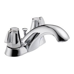 """Delta - Delta 2520LF-MPU Chrome Classic Classic Centerset Bathroom Faucet - Product Features:    Made in the U.S.A. (Manufacturing plants: Greensburg, Indiana; Jackson, Tennessee)Fully covered under Delta s limited lifetime warranty  All-brass faucet construction  Superior finishing process - faucet finish covered under lifetime warranty  Sensible styling that complements any home  Classically styled faucets and accessories handle the toughest of tasks with ease  Double handle 1/4 turn operation  Includes cover plate (escutcheon) for sinks with 3-holes (4"""" centers)  ADA compliant  Low lead compliant - complies with federal and state regulations for lead content  Designed to easily connect to standard U.S. plumbing supply bibs  Extra secure mounting assembly  All necessary mounting hardware included    Product Technologies:    Watersense Certified Product: Through a number of technologies and innovations, Delta's Watersense faucets achieve the impossible: A faucet that feels like more water, while actually conserving water. There are many advantages to this beyond helping protect our nation's water resources. First, Delta's Watersense faucets splash less; you won't have to wipe your counters as much. Second, they use less hot water, preserving your hot water supply and reducing associated water-heating costs. Third, you will feel a little less guilty leaving the water running for longer periods.    Product Specifications:    Overall Height: 2-7/8"""" (measured from counter top to highest point of faucet)  Spout Height: 1-3/8"""" (measured from counter top to faucet outlet)  Spout Reach: 3-7/16"""" (measured from center of faucet base to center of faucet outlet)  Number of installation holes required: 3  Center-to-center distance between handle installatio"""