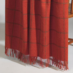 Ethan Allen - Burren Spice Throw - A pinstriped, windowpane plaid throw in a warm, chili-pepper shade spices up any space. Spun from pure lambswool.