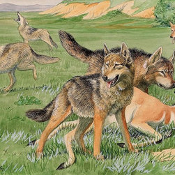 Magic Murals - Timber Wolves and Coyotes Wallpaper Wall Mural - Self-Adhesive - Multiple Sizes - Timber Wolves and Coyotes Wall Mural