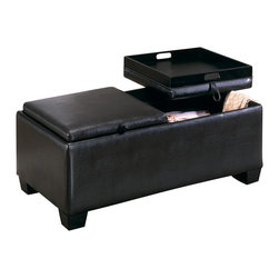 Homelegance - Homelegance Vega Rectangular Ottoman Cocktail Table with 2 Storage - Ottoman Cocktail table with storage trunk by Vega collection offers an inventive way to store your assorted odds and ends out of the way but still within reach. The fully upholstered tables feature removable tops that open up to a finished interior perfect for storage with the removable top that also functions as a tray. Finish is espresso, covered with Dark Brown bi-cast vinyl.