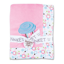 "Trend Lab - Receiving Blanket - Framed Cupcake - Keep your little one warm and secure with this Cupcake Framed Blanket by Trend Lab. Soft pink velour is framed by a cotton twill bubble dot print in bubblegum pink, hot pink, robin's egg blue, turquoise, green apple, limeade and chocolate on a white background. Cupcake embroidered applique in the corner adds the finishing touch! Blanket measures 30"" x 40""."