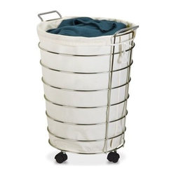 Honey-Can-Do Int. - Chrome Rolling Hamper - If your laundry room is working overtime get a hamper thats just as hardcore.  Sturdy metal frame with chrome finish; removable canvas laundry bag for washing the grime away; casters for ease of movement for dirty laundry collection. Dimensions: 19.75 in L x 17.75 in W x 25 in H