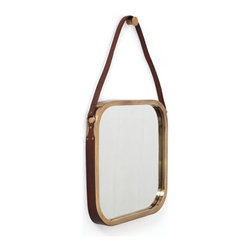"""Go Home Ltd - Constantine Mirror by Go Home - Leather strapping lends an earthy warmth to this antique brass finished mirror. With a """"Ralph Lauren"""" feel, this mirror has lots of personality and requires little room. Try hanging over a bedside table on each bed side. (GH) 21"""" wide x 36"""" high x 2"""" deep"""