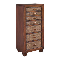 Home Styles - Home Styles Cabana Banana Lingerie Chest/Jewelry Armoire in Cocoa Finish - Home Styles - Chests - 540247 - The Cabana Banana Lingerie Chest / Jewelry Armoire has solid mahogany and mahogany veneer with engineered wood construction in a rich cocoa finish. It features a total of seven drawers a lift top and two side compartments. The top four drawers are felt-lined to store and protect your precious jewelry and the bottom three storage drawers are perfect for your delicate clothing. The lift-top opens to reveal a mirror and a hidden compartment for additional storage. The side compartments have hooks for your precious necklaces. Ready to astound you with its radiant attractiveness the Cabana Banana Lingerie Chest / Jewelry Armoire offers a lasting appeal you will enjoy for many years.