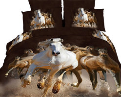 Dolce Mela - Horses Luxury Bedding Duvet Cover Set Dolce Mela DM424, King - Create an Impressive horse themed bedroom with these gorgeous equestrian stallions printed with vivid colors and resolution and bring the countryside indoors.