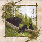 The Tile Mural Store (USA) - Tile Mural -  Black Bears  - Kitchen Backsplash Ideas - This beautiful artwork by Anita Phillips has been digitally reproduced for tiles and depicts a framed bear.    A bear tile mural would be perfect as a part of your kitchen backsplash tile project or your tub and shower surround bathroom tile project. Bear images on tile make a great kitchen backsplash idea and are excellent to use in the bathroom too for your shower tile project. Consider a tile mural with bear pictures for any room in your home where you want to add wall tile with interest.