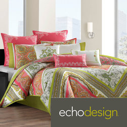 Echo - Echo 'Gramercy' Pink/Green Paisley Print Cotton 3-piece Comforter Set - The Gramercy Paisley Bedding collection is a vibrant overscaled paisley scarf pattern printed on soft 100-percent cotton featuring pink and green. The style is expressive,bold and trendy.