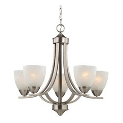 Design Classics Lighting - Satin Nickel Chandelier with Alabaster Glass Shades  - 222-09 - Contemporary / modern satin nickel 5-light chandelier. Includes 6-feet of chain and 7-feet of wire. Takes (5) 100-watt incandescent A19 bulb(s). Bulb(s) sold separately. UL listed. Dry location rated.