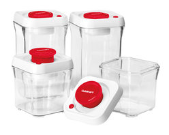 Cuisinart - Cuisinart Fresh Edge 8-Piece Vacuum Sealed Food Storage Containers, Red - Food storage containers and lids with built-in vacuum pump